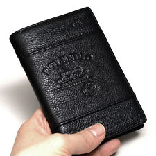New Black Mens Leather Wallets Zippered Pocket Travel Wallet Trifold Purse