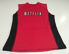 (L) NETFLIX Red Bicycle Sleeveless Jersey Spandex On Demand Older Logo Ride Tour