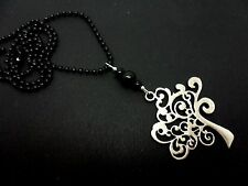 "A LOVELY TREE OF LIFE PENDANT BLACK BALL CHAIN NECKLACE.  18"" LONG. NEW."