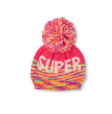 Toddler Girls 'SUPER' Pom Pom Beanie Hat  size S/M(4-7YR)