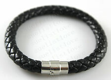 8mm 9inch Man's Black Genuine Leather Bracelet Twist Chain Stainless Steel new