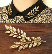 Fashion Woman Daren Punk Gold Collar Lapel Tie Pins Brooches Jewelry 2PCS Gift