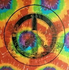 """Dolphin and whale peace sign TIE DYE Tapestry 40"""" x 45"""" - hippy trippy wall art"""
