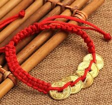 FD4601 Feng Shui Red String Lucky Coin Charm Bracelet for Good Luck & Wealth^