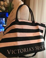 VICTORIAS SECRET GETAWAY BLACK PINK STRIPED LARGE TOTE WEEKENDER BAG