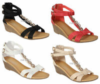 LADIES WOMENS SUMMER WEDGE STRAPPY SANDALS HEELS DRESS PARTY EVENING SHOES SIZE