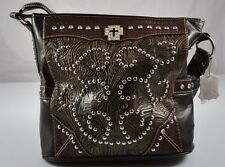 NWT New Black Brown Tooled Studs Crystal Rhinestone Bling Purse Tote Handbag