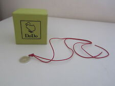 BNIB DODO RED LEATHER NECKLACE WITH SILVER COIN MERCI PENDANT