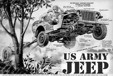 "WWII US ARMY JUMPING JEEP CUTAWAY PARTS LARGE POSTER 19""X13"" FORD GP WILLYS MB"