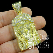 NEW DIAMOND CUT HOLY JESUS FACE PENDENT CHARM 14K YELLOW GOLD FINISH 2.5 INCH