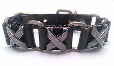 Black Leather Bracelet with Cross Ribbon Designed Metal Buttons - Buckle Clasp