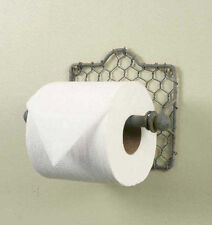 Rustic Classic Early American Chicken Wire Toilet Tissue Holder Dispenser Gray