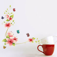 Pink Flower Butterflies Wall Stickers Decal Removable kid Art Home Mural Décor