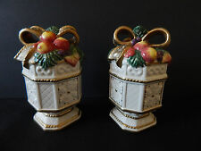 Fitz and Floyd Snowy Woods Salt/Pepper Shakers Fruit With Bow