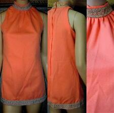 VTG~MOD 60S Peach Metallic Trim Poly Micro Mini Go/Go Shift Dress LG EUC