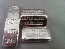 "5 x 1oz Hand Poured 999 Silver Bullion Bar ""Silver Addict"" by YPS Yeager's"