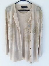 ST JOHN Sweater Twin Set Tank & Cardigan Size M/L Beige Gold