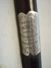 "ANTIQUE IRISH PRESENTATION HALLMARKED SILVER WALKING STICK 35.""British Legion""."