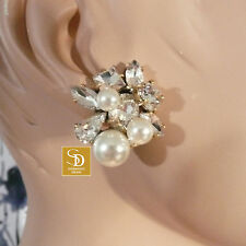 J Crew Pearl and Crystal Statement Earrings NWT $68   Style #E3636