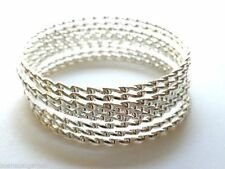 8 Bangles Toddler Girls Bracelet Silver Plated Age 4-10