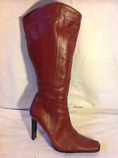 Bronx Maroon Mid Calf Leather Boots Size 38