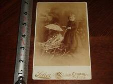BS435 Antique Victorian Cabinet Card Photo Girl Child Doll in Carriage St.Louis