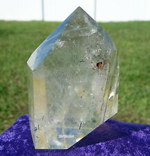 Green Chlorite Layered PHANTOM & Rutilated Clear Quartz Crystal Polished Point