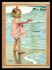 Child On The Beach  Miniature Dollhouse Picture