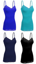 Women's 4 Pack Camisole Adjustable Strap Lace Trim Long Spaghetti Tank Top Shirt