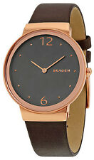 Skagen SKW2368 Freja Grey Dial Brown Leather Strap Women's Watch