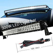 30INCH 300W CURVED LED Work Light Bar Flood Spot Combo + 3M Wiring Harness Kits