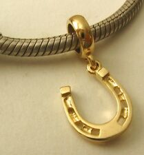 SOLID 9K  9ct YELLOW GOLD CHARM BEAD with HORSE SHOE LUCKY CHARM DROP