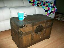 HandCrafted Rustic,Western Wood, Storage, Hope Chest Trunk with Padlock & 2 keys