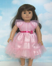 "Pink Satin Mesh Party Dress Fits 18"" American Girl Doll Clothes"