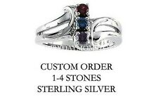 Mother's Birthstone Ring in Sterling Silver 1-4 Stones