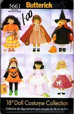 "18"" Doll Costume Collection Sewing PATTERN pumpkin, gypsy, witch BUTTERICK 5661"