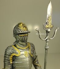 "14"" MEDIEVAL TIMES CRUSADES KNIGHT STATUE in ARMOR W PARTISAN GOLD SILVER FINISH"