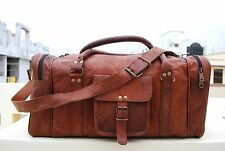 "24"" Men's genuine Leather large vintage duffel travel gym weekend overnight bag"