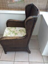 Vintage Winged Cane/Bamboo/ Rattan  Conservatory Chair