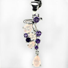 ALLURING NATURAL MULTI COLOR ROSE QUARTZ & AMETHYST STERLING 925 SILVER PENDANT