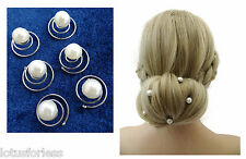 6 x Pearl Bead Hair Coils Twist in Hair Jewellery Grip Bridal for Up dos