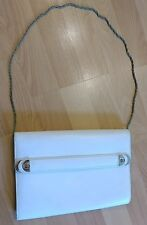 Vintage Gucci Convertible White Shoulder Bag Or Clutch With Chain