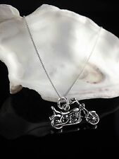 Solid Sterling Silver 925 Motorbike Pendant Charm 16/18 Inch Necklace Jewellery