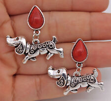 A Pair Dogs Dachshund Red Waterdrop Resin Retro Alloy Pageant Women Earrings #02
