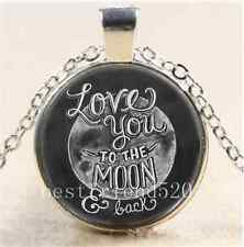 I Love You To The Moon And Back Cabochon Glass Tibet Silver Chain Necklace#F10