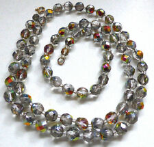 Vintage Art Deco Venetian Faceted Aurora Borealis Glass Bead Necklace