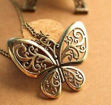 Ancient Bronze Butterfly Pendant Necklace Sweater Chain Women Vintage Jewelry