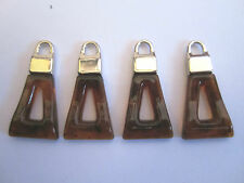 "1 1/2"" Charm Purse Zipper *AMBER LUCITE* Pull Repair Replace (4 pc)"