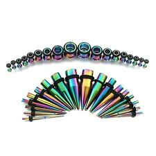 Stainless Ear Stretching Kit. Plugs & Tapers Set 36pc Gauges 14g-00g Rainbow