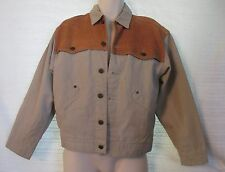 Men's Australian Outback Collection Khaki Duck Canvas w/Leather Yoke Jacket XS